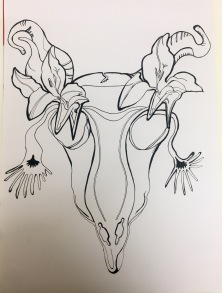 Goat Skull with Lillies