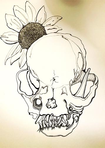 Pug Skull with Sunflower