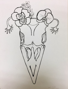 Raven Skull with Orchids