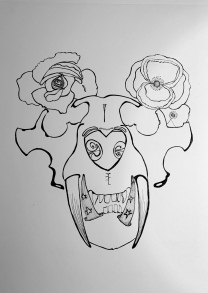 Tiger skull with Poppies